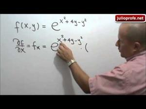 Derivadas parciales de una función exponencial (JulioProfe)