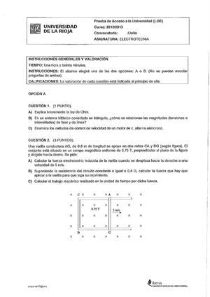 Examen de Selectividad: Electrotecnia. La Rioja. Convocatoria Julio 2013