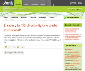 El saber y las TIC: ¿brecha digital o brecha institucional?