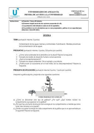 Examen de Selectividad: Ciencias de la Tierra. Andalucía. Convocatoria Junio 2013
