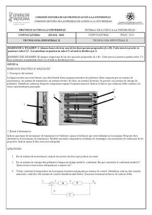 Examen de Selectividad: Tecnología industrial. Comunidad Valenciana. Convocatoria Julio 2013