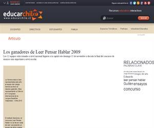 Los ganadores de Leer Pensar Hablar 2009 (Educarchile)