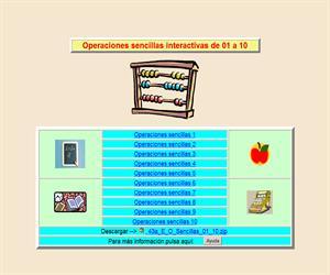 Operaciones sencillas de 1 a 10, cálculo interactivo