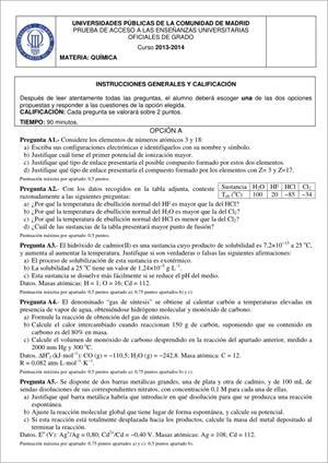Examen de Selectividad: Química. Madrid. Convocatoria Junio 2014