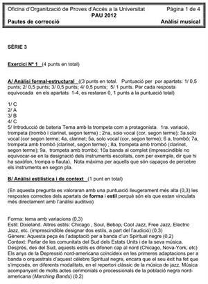 Examen de Selectividad (Soluciones): Análisis Musical. Cataluña. Convocatoria Junio 2012