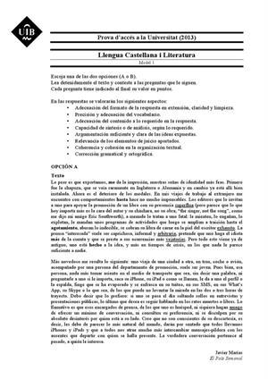 Examen de Selectividad: Lengua castellana y su Literatura. Islas Baleares. Convocatoria Junio 2013