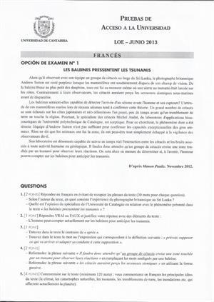 Examen de Selectividad: Francés. Cantabria. Convocatoria Junio 2013