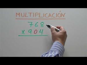 Multiplicación por números de varias cifras. El segundo factor tiene un 0 intermedio