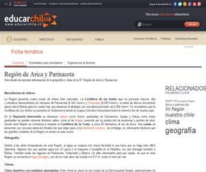 XV Región Geografía y Clima (Educarchile)