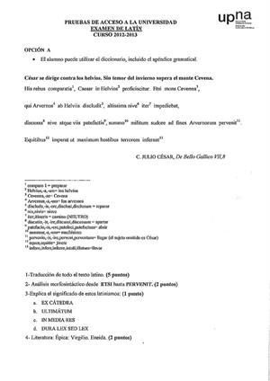 Examen de Selectividad: Latín. Navarra. Convocatoria Julio 2013