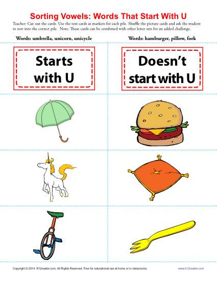 Vowel Sort: Words That Start With U