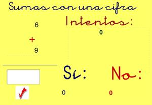 Sumas con una cifra. Matemáticas para Primaria (ficus.pntic.mec.es)