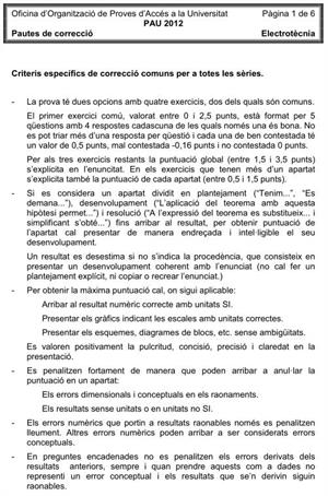 Examen de Selectividad (Soluciones): Electrotecnia. Cataluña. Convocatoria Junio 2012