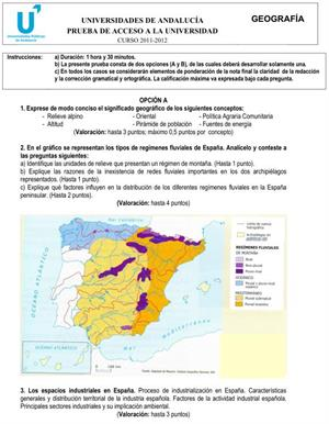 Examen de Selectividad: Geografía 2. Andalucía. Convocatoria Junio 2012