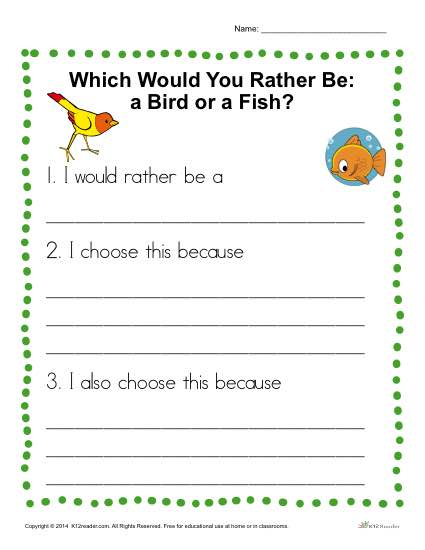 Would You Rather be a Bird or a Fish? Writing Prompt