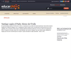 Santiago según el Padre Alonso de Ovalle (Educarchile)