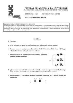 Examen de Selectividad: Electrotecnia. Canarias. Convocatoria Junio 2013