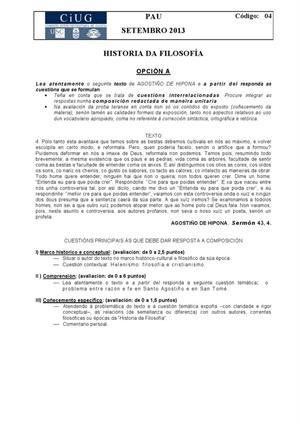 Examen de Selectividad: Historia de la filosofía. Galicia. Convocatoria Septiembre 2013