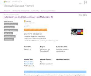 Factorización con Modelos Geométricos y con Mathematics 4.0