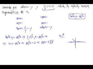 cálculo de las restantes razónes trigonométricas
