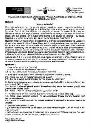 Examen de Selectividad: Francés. Murcia. Convocatoria Junio 2014