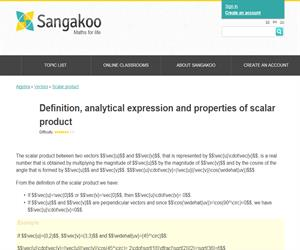 Definition, analytical expression and properties of scalar product