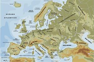 Mapa físico de Europa (Educarex)
