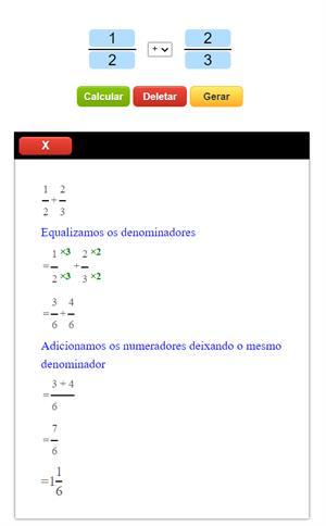 Calculadora de fração online