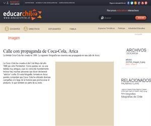 Calle con propaganda de Coca-Cola, Arica (Educarchile)