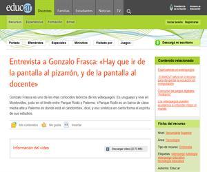 Entrevista a Gonzalo Frasca: Hay que ir de la pantalla al pizarrón, y de la pantalla al docente