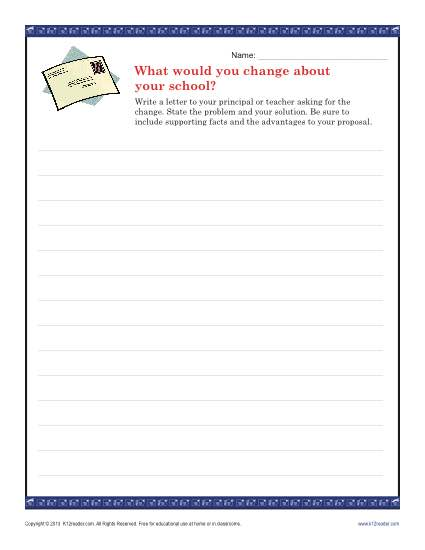 Write A School Letter for Change – Writing Prompt