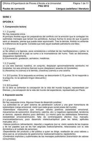 Examen de Selectividad (Soluciones): Lengua castellana. Cataluña. Convocatoria Junio 2012