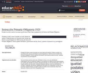 Instrucción Primaria Obligatoria 1920 (Educarchile)
