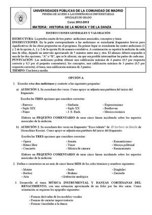 Examen de Selectividad: Historia de la músca. Madrid. Convocatoria Junio 2013