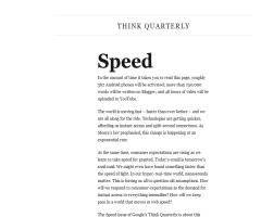Think Quarterly, de Google. Cuarto número: Velocidad