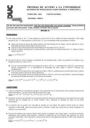 Examen de Selectividad: Física. Canarias. Convocatoria Julio 2013