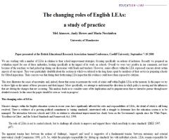 The changing roles of English LEAs: a study of practice | Mel Ainscow, Andy Howes and Maria Nicolaidou