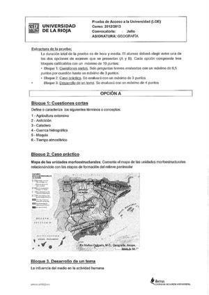 Examen de Selectividad: Geografía. La Rioja. Convocatoria Julio 2013