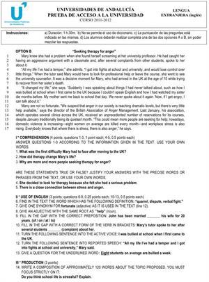 Examen de Selectividad: Lengua extranjera (Inglés) Opción B. Andalucía. Convocatoria Junio 2012