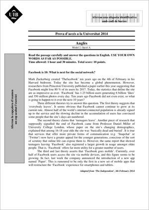 Examen de Selectividad: Inglés. Islas Baleares. Convocatoria Junio 2014