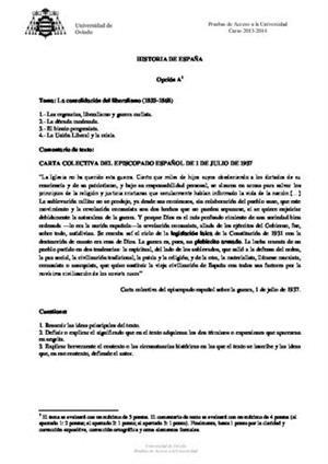 Examen de Selectividad: Historia de España. Asturias. Convocatoria Junio 2014