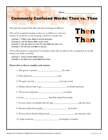 Then vs. Than – Commonly Confused Words Worksheet