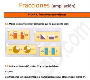 Ficha de ejercicios de fracciones (ampliación)