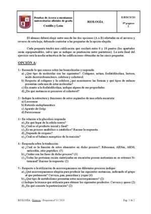 Examen de Selectividad: Biología. Castilla y León. Convocatoria Junio 2013