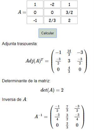Calculadora de la matriz inversa