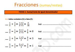 Sumas y restas de fracciones - Ficha de ejercicios (educa3d)