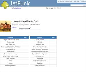 J Vocabulary Words Quiz