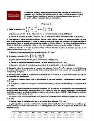 Examen de Selectividad: Matemáticas CCSS. Castilla-La Mancha. Convocatoria Junio 2014