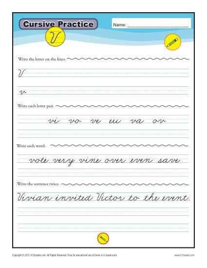 Cursive V – Letter V Worksheet