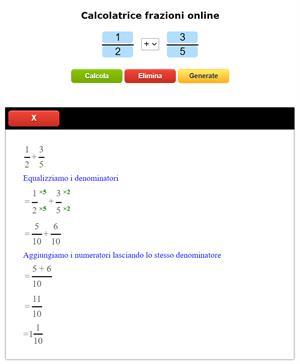 Calcolatore di frazioni online